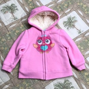 Toddler Owl Sherpa Lined Hooded Jacket